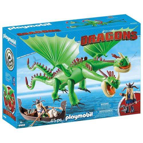 Playmobil Dragons Ο Πέτρος Και Η Πέτρα Με Τον Δικέφαλο Δράκο Ρέψιμο Και Αναγούλα 9458 4008789094582