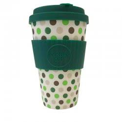 ecoffee cup Ecoffee Ποτήρι Bamboo με καπάκι 400ml Green Polka 600112 5060136004865
