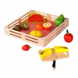 TOOKY TOY Ξύλινα Φρούτα Με Ξύλο Κοπής Και Δίσκο TKI014 6970090047602