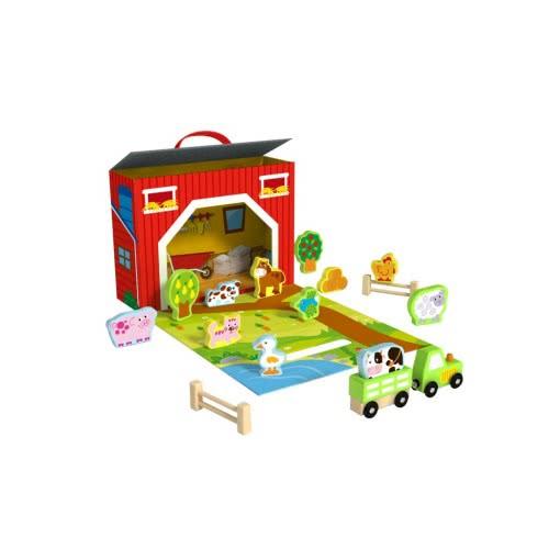 TOOKY TOY Wooden Farm Play Box TY201 6970090048159