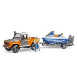 bruder Land Rover Defender Τετρακίνητο Με Τρέιλερ, Jet Ski Και Αναβάτη BR002599 4001702025991
