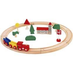 GLOBO Legnoland Wooden Magnetic Train Track 20Pcs 37724 8014966377245