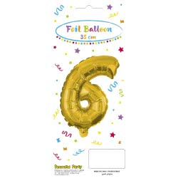 PROCOS Decorata Party Gold Foil No 6 Μπαλόνι - Χρυσό 089647 5201184896471
