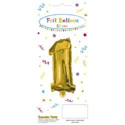 PROCOS Decorata Party Gold Foil No 1 Balloon - Gold 089642 5201184896426