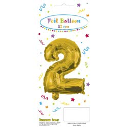 PROCOS Decorata Party Gold Foil No 2 Balloon - Gold 089643 5201184896433