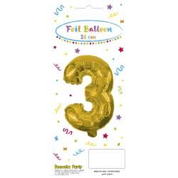 PROCOS Decorata Party Gold Foil No 3 Balloon - Gold 089644 5201184896440