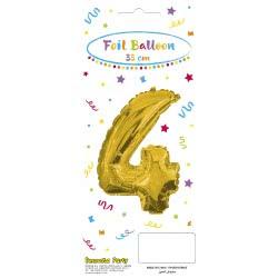 PROCOS Decorata Party Gold Foil No 4 Balloon - Gold 089645 5201184896457
