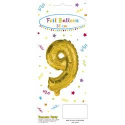PROCOS Decorata Party Gold Foil No 9 Balloon - Gold 089650 5201184896501