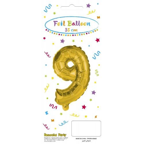 PROCOS Decorata Party Gold Foil No 9 Μπαλόνι - Χρυσό 089650 5201184896501