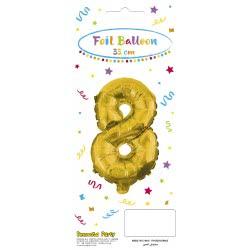 PROCOS Decorata Party Gold Foil No 8 Balloon - Gold 089649 5201184896495