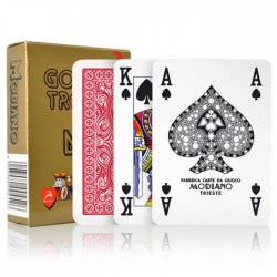 MODIANO Plastic Cards Poker Golden Trophy Red 1003 / Red 8003080004526