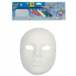 CLOWN Μάσκα Paper Mache Λευκή με 4 Χρώματα και Πινέλο 70717 5203359707179