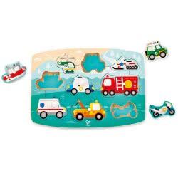 Hape Happy Puzzles Ξύλινο Παζλ Οχήματα Emergency Peg E1406 6943478018679