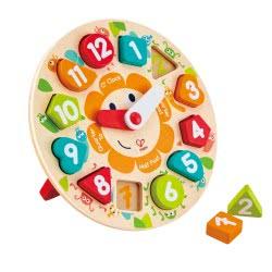 Hape Happy Puzzles Ξύλινο Ρολόι Παζλ Chunky E1622 6943478018747