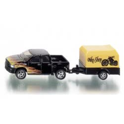 siku Φορτηγάκι Μαύρο Με Τρέιλερ Μηχανής SI001643 4006874016433