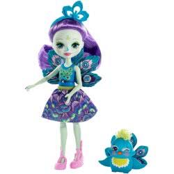 Mattel Enchantimals Κούκλα και Ζωάκι Patter Peacock and Flap DVH87 / FXM74 887961695519