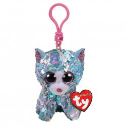 ty Flippables Sequin Blue Iridescent Cat Clip Plush 8,5Cm 1607-35308 008421353088