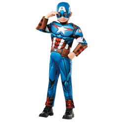 Rubies Carnaval Costume Captain America Deluxe Νο. L (7-8 Years) 640833L 883028284115