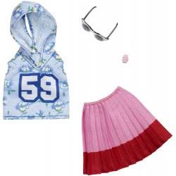 Mattel Barbie Fashion Βραδινά Σύνολα Blue Hoody 59, Pink Skirt and Glasses FND47 / FXJ10 887961692297