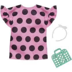Mattel Barbie Fashion Pink Dotted Shirt And Accessory FND47 / FXJ13 887961692303