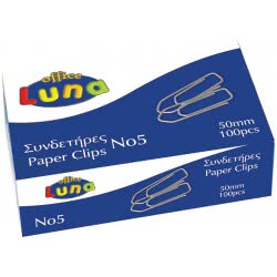 LUNA OFFICE Paper Clips 50Mm 100 Pieces - Silver 000602215 5205698071843