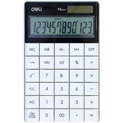 DELI Αριθμομηχανή 12 Ψηφίων 16,53x10,32x1,47cm - Λευκό 231.1589w 6921734914156