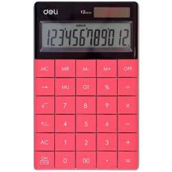 DELI Calculator 12 Digits 16,53x10,32x1,47cm - Red 231.1589r 6921734914149