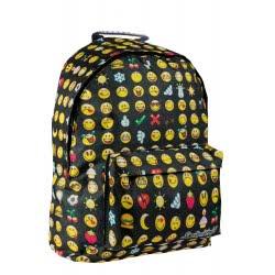 Diakakis imports Smiley Τσαντα Πλάτης Μαύρη με Κιτρινο Σχέδιο Emoji 30x15x40 εκ. 504589 5205698239540
