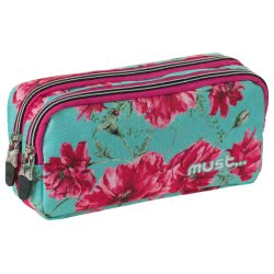 MUST Energy Pencil Case with Two Zippers Great Pink 20x9x6 cm 000579353 5205698244827
