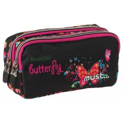 MUST Energy Pencil Case with 2 Zippers Butterfly 20x9x6 cm 000579354 5205698244858