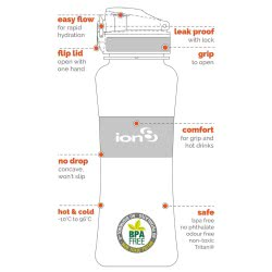 ion8 Παγούρι Ultimate Leak Proof 550 ml - Μωβ ΙΟΝ85-50ΡURQQ 619098080216